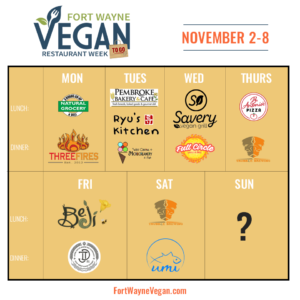 Fort Wayne Vegan Restaurant Week To Go plan