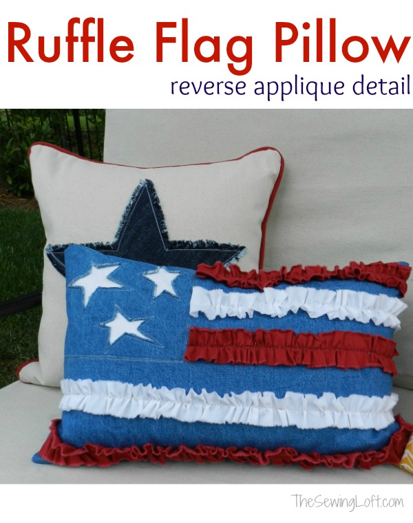 Easy to make ruffle flag pillow pattern.  The Sewing Loft
