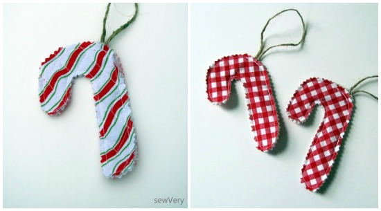 Candy Cane Ornaments by sewVery via thesewingloftblog.com