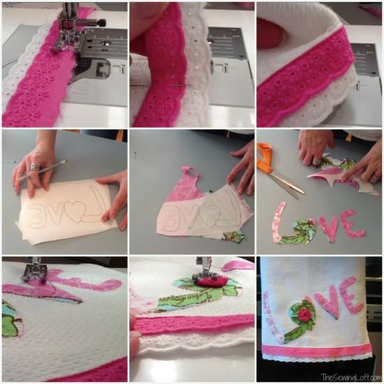 Love Applique Towel How To via thesewingloftblog.com