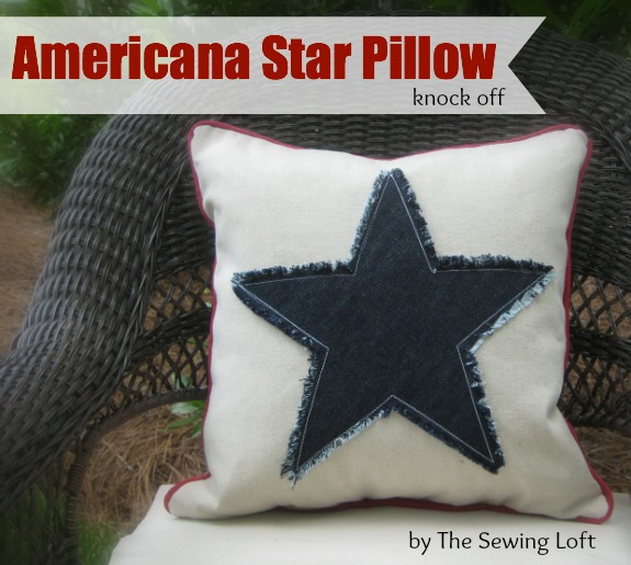 Americana Star Fringe Pillow Knock Off by The Sewing Loft