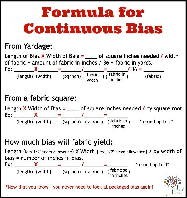 Continuous Bias Formulas | The Sewing Loft