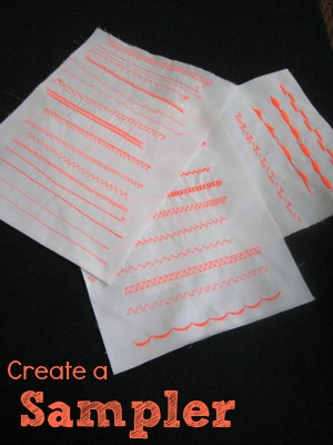 Create a sampler of Decorative Stitches your machine can create. The Sewing Loft #sewing
