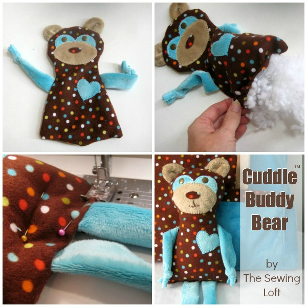 Cuddle Buddy Bear Pattern by The Sewing Loft for Shannon Fabrics. Includes free Cuddle Buddy Bear pattern & Pocket pillow case