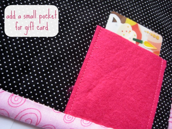 Create a gift card pocket on the back of your Owl Eyes mug rug by The Sewing Loft.