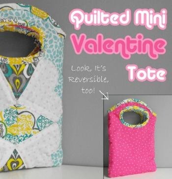 Quilted Mini Valentine Tote Bag on The Sewing Loft #freepattern #sewing #Valentine'sDay