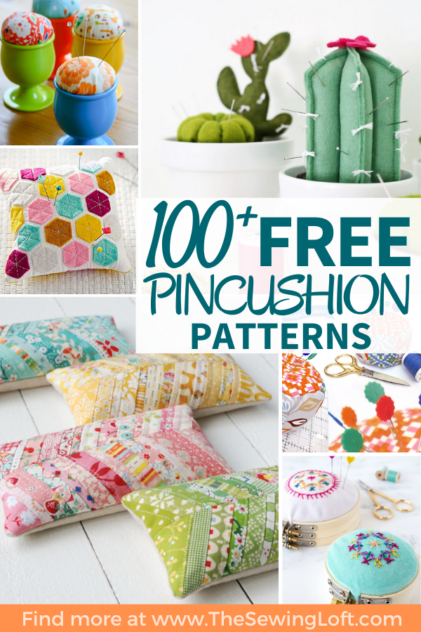 100 plus pincushion projects. All patterns are free with step by step instructions.  The Sewing Loft #sewing #fatquarterfriendly