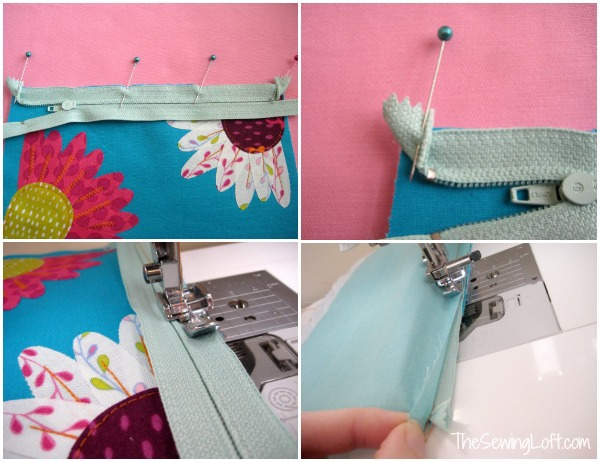 Inserting zipper to flower zipper pouch pattern. The Sewing Loft