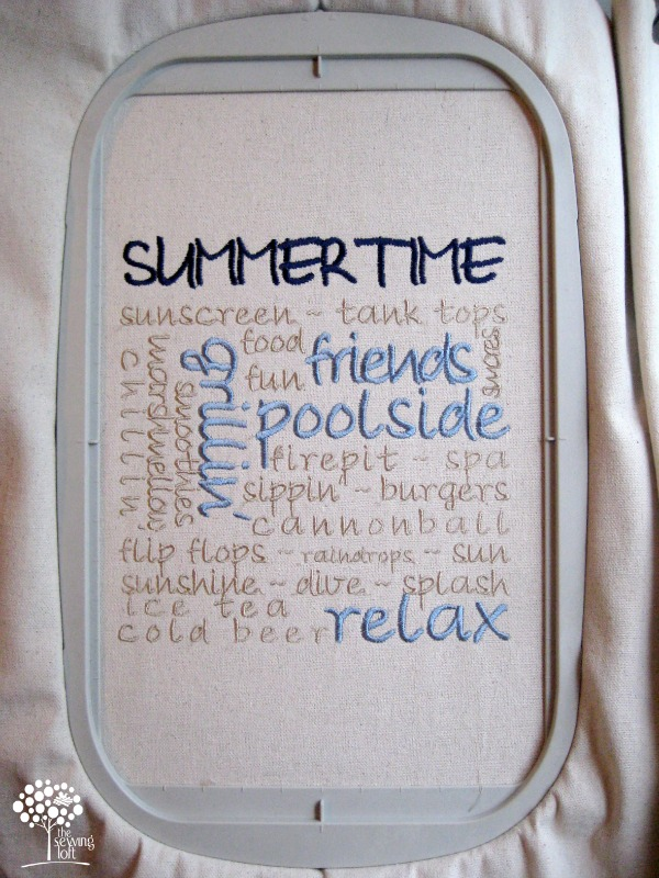 Learn how to create a custom summertime embroidery design that can give your project for a personalized look. Design can be used for pillows, bags and more.