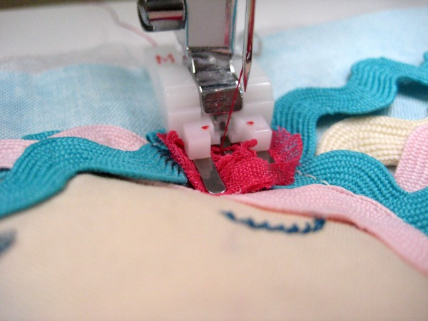 Using a button sewing lockstitch to attach small parts. The Sewing Loft