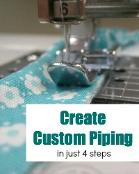 Create custom piping in 4 easy steps.  The Sewing Loft