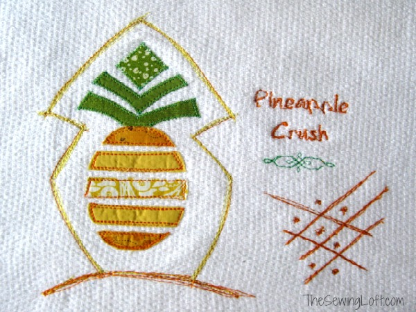 Stitch up a fun kitchen towel with this free Pineapple Applique Template.  The Sewing Loft