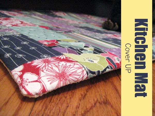 Kitchen Mat Cover Up easy DIY. This project is perfect for  your serger and cleaning out scrap fabric. The Sewing Loft