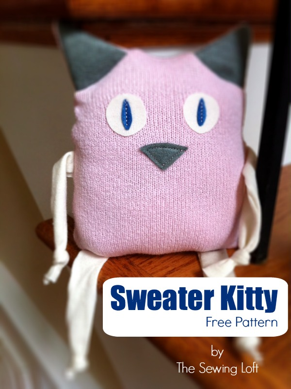 Reclaim an outgrown sweater with this free Kitty pattern. The Sewing Loft