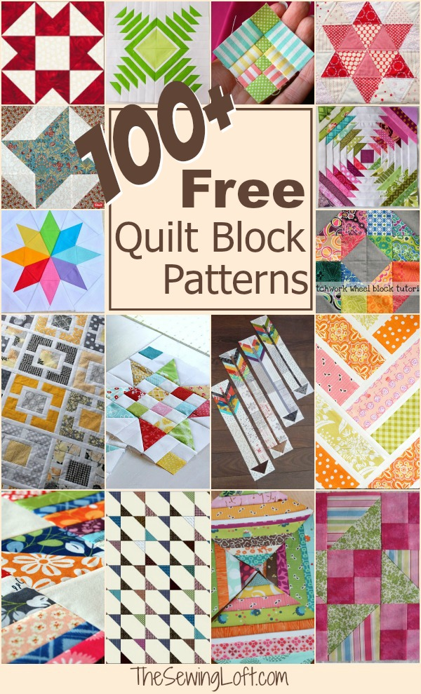 Keep your creative juices flowing with over 100 free quilt blocks rounded up in one place. The Sewing Loft