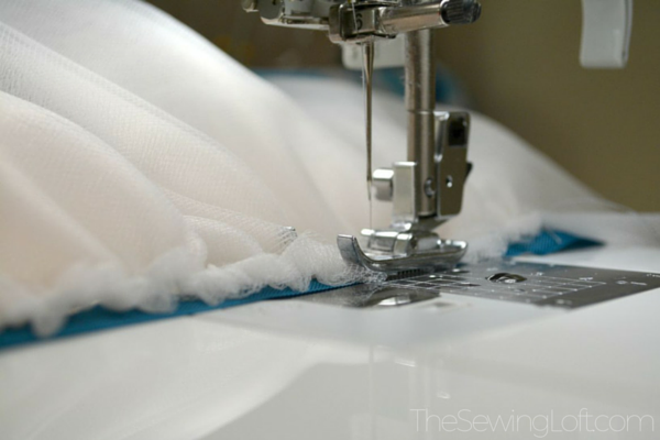 Learn 10 easy tips for sewing with tulle like how to quickly ruffle tulle. The Sewing Loft