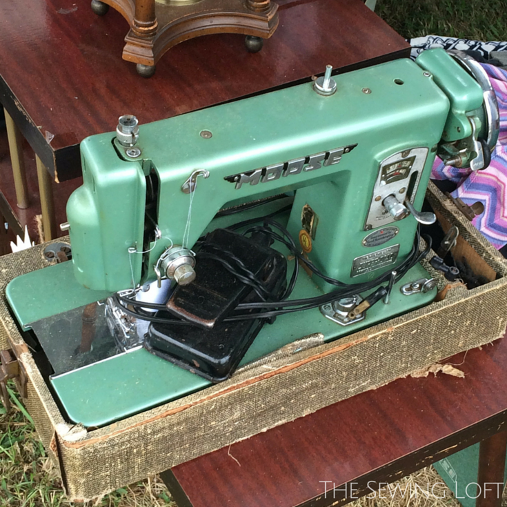 What's old is new again. So many vintage sewing machines spotted along the 127 sale but I feel in love with this green machine! The Sewing Loft