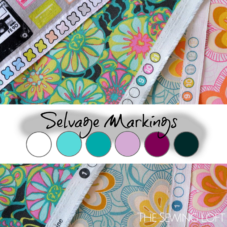 Unlock the mystery of your selvage markings along the fabric edge. These colored spots can actually help you coordinate fabrics for your project. The Sewing Loft