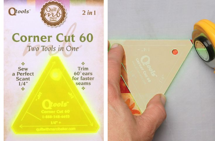 Create triangles and hexies in a flash with this QTool Corner Cut ruler. The Sewing Loft
