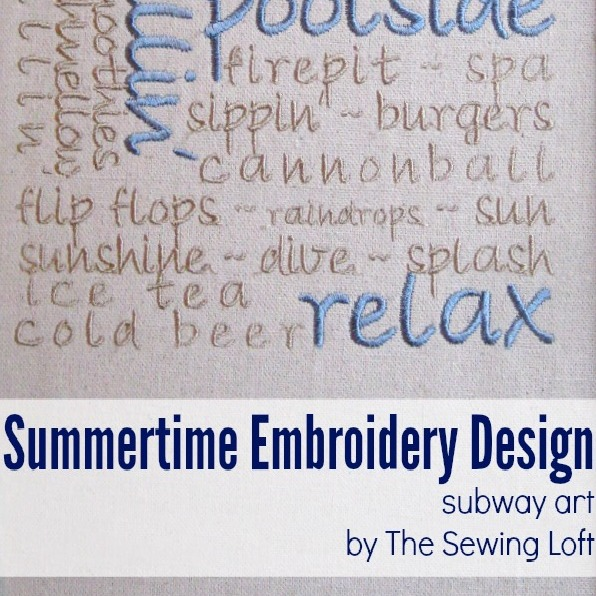 Add this summertime embroidery design to your project for a personalized look. The Sewing Loft