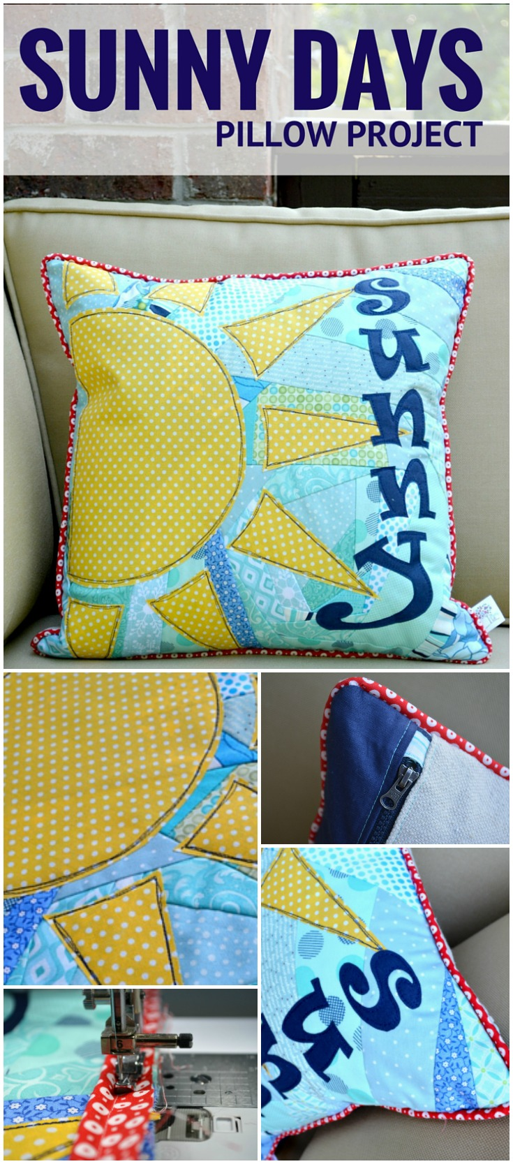 Love this scrappy pillow! It's the perfect sewing pattern to clean out my stash. The instructions are easy to follow and the applique design is so cute.