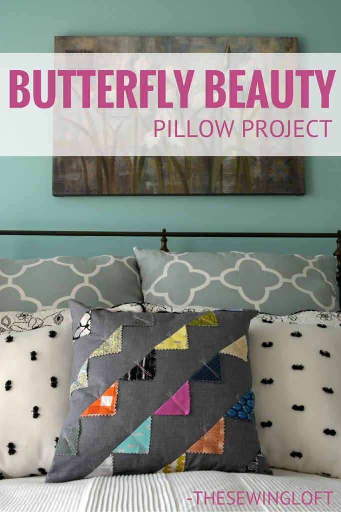 You can make this DIY Butterfly pillow cover with just a few charm squares of your favorite prints.