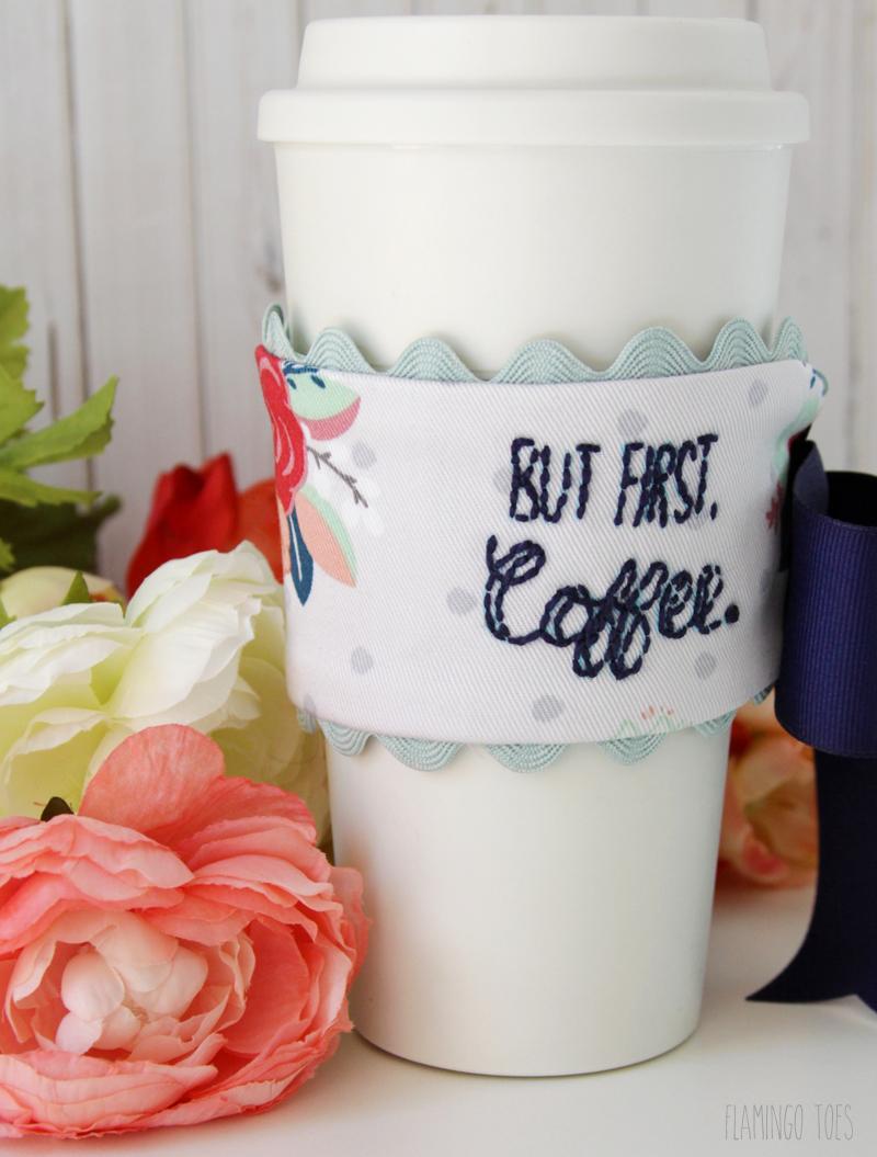 embroidery pattern coffee cuff