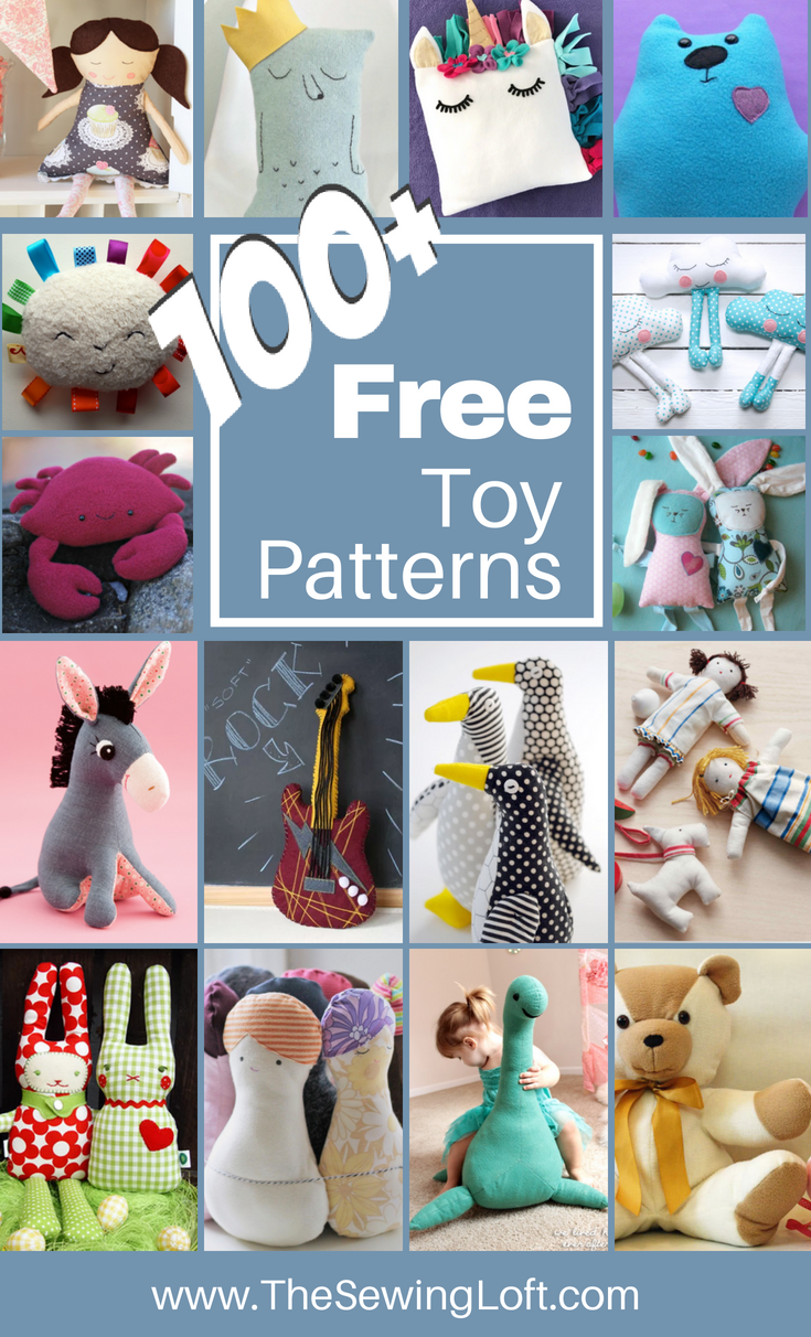 100+ Stuffed Toy DIY free patterns! Most of these patterns are easy to sew for any skill level. From dolls to sea animals, there is something here for everyone.