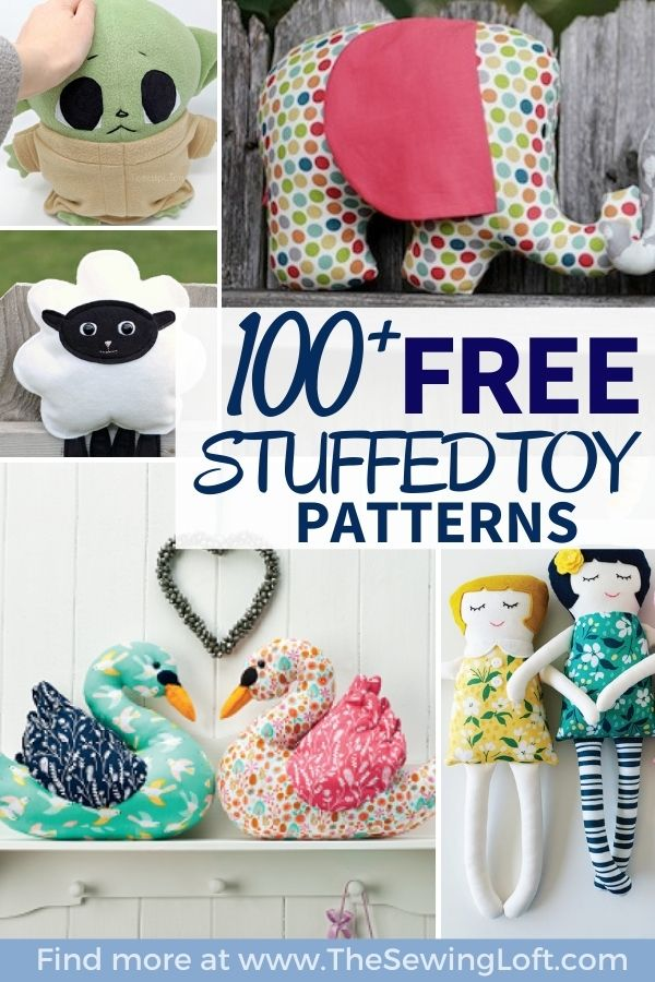 100+ Stuffed Toy DIY free patterns! Most patterns are easy to sew for any skill level. From dolls to sea animals, there is something here for everyone.