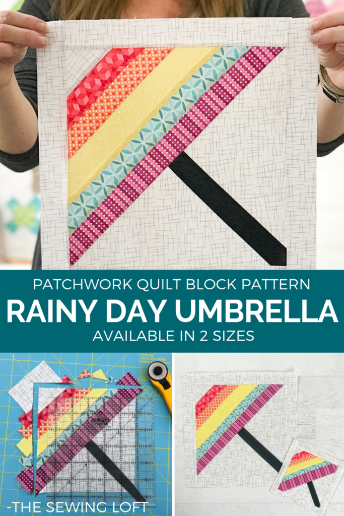 Stock up your pattern library while improving your quilting skills with the Blocks 2 Quilt series from The Sewing Loft. This Rainy Day Umbrella quilt block is bound to help keep away the weather blues.