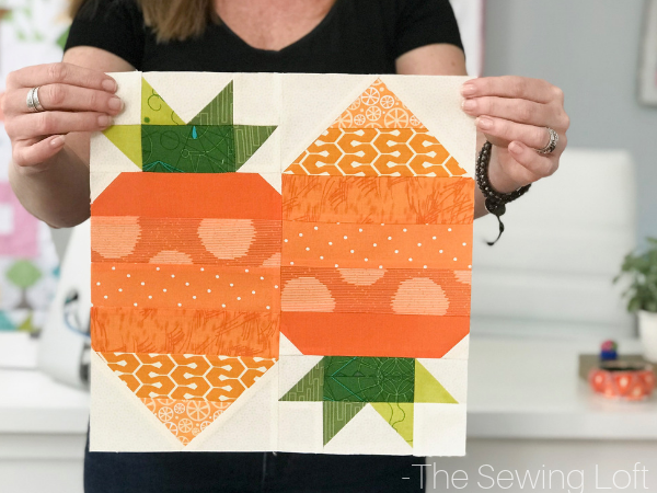 The Carrot Top Quilt Block is perfect for spring! It comes in 2 sizes and can be used in many different projects from home decor to quilts.#Block2Quilts