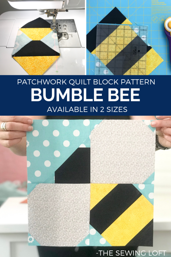 Add this whimiscial Bumble Bee quilt block to your pattern library and join the Blocks 2 Quilt series on The Sewing Loft. Pattern includes 2 sizes.