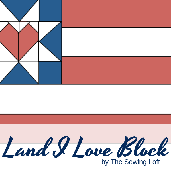 This scrappy flag quilt block is a great way to use your scraps for some patriotic flair. Land I Love Flag Quilt Block. Pattern includes 2 sizes. Block designed by The Sewing Loft