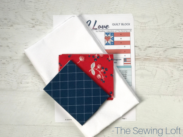 This scrappy friendly quilt block is a great way to use your scraps for some patriotic flair. Land I Love Flag Quilt Block. Pattern includes 2 sizes. Block designed by The Sewing Loft