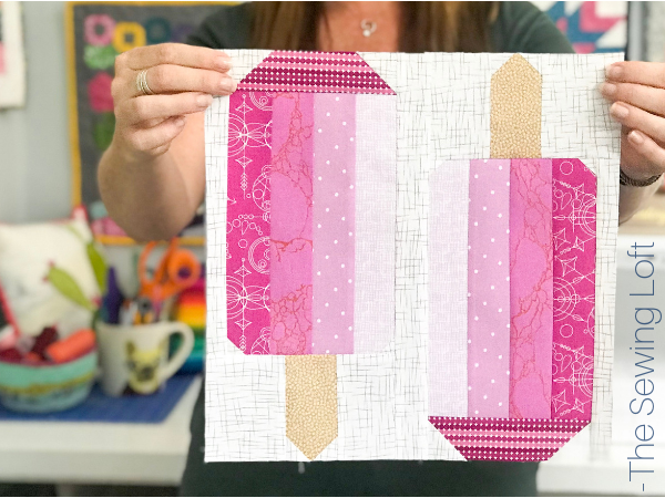 I'm stitching up this fun patchwork Summer Ice Pop Quilt block from The Sewing Loft.