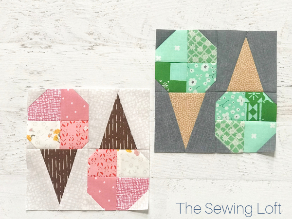 """Grow your quilting skills with this fun Ice Cream Cone quilt block. The easy to make, patchwork construction block finishes 12"""" square."""