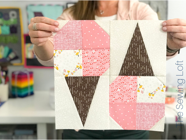 I'm stitching up this fun patchwork Ice Cream Cone Quilt block from The Sewing Loft.