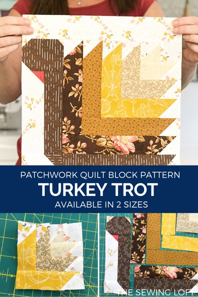 The Turkey Trot quilt block highlights details from traditional log cabins. This technique makes the simple construction appear intricate.