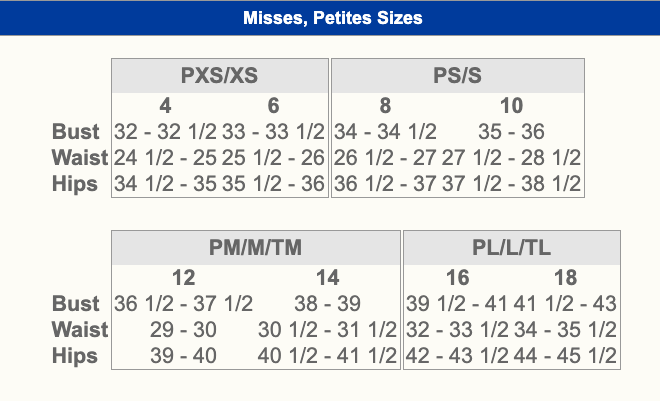 Women's Size Chart for Blair