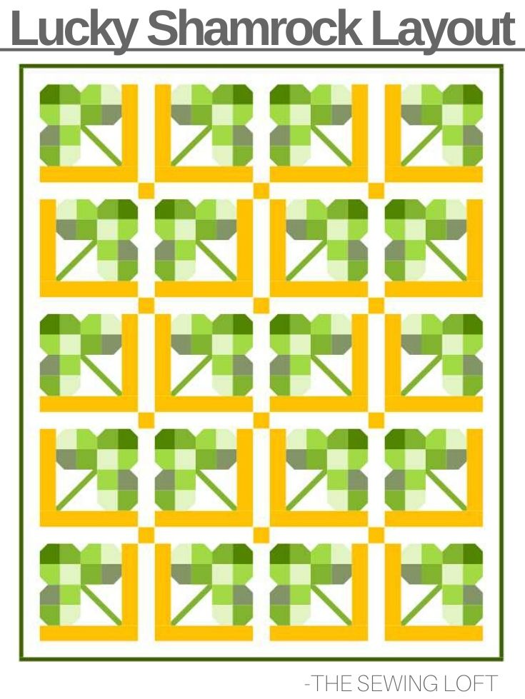 Stretch your quilting with the luck of the Irish and this Shamrock Quilt block pattern. The design is easy to make and perfect for scraps. Available in 2 sizes. #quiltblock #quilting