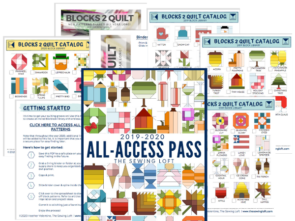 Ready to take your quilt library to a whole new level? Download the All Access Pass for the Blocks 2 Quilt series by The Sewing Loft. Library includes more than 100 blocks, templates, project ideas and tips help you achieve the perfect quilt!