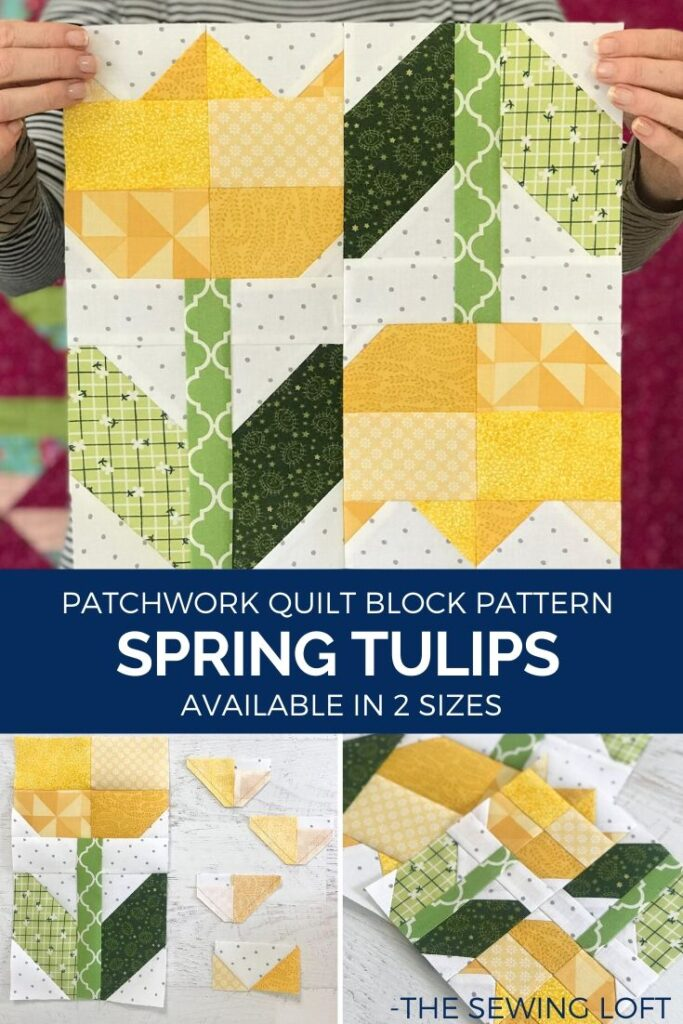 Transform your fabric scraps into a garden of your own with the Spring Tulips Quilt Block from The Sewing Loft. Easy to make and available in 2 sizes. #quilting #quiltblock