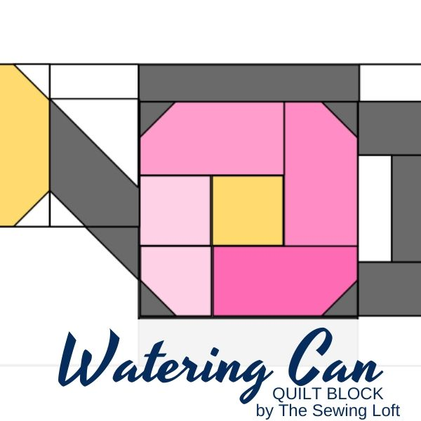 Turn your scraps into something fun with this colorful, easy to make Watering Can quilt block. From The Sewing Loft. Easy to make and available in 2 sizes.
