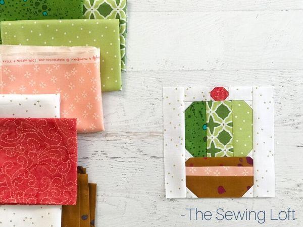 Desert Cactus Quilt Block Fabric Pull