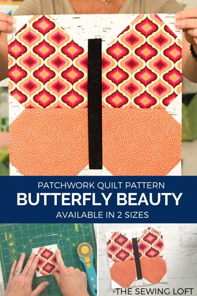 Show off your favorite fabrics with this colorful, easy to make Butterfly Beauty quilt block from The Sewing Loft. Easy to make and available in 2 sizes.