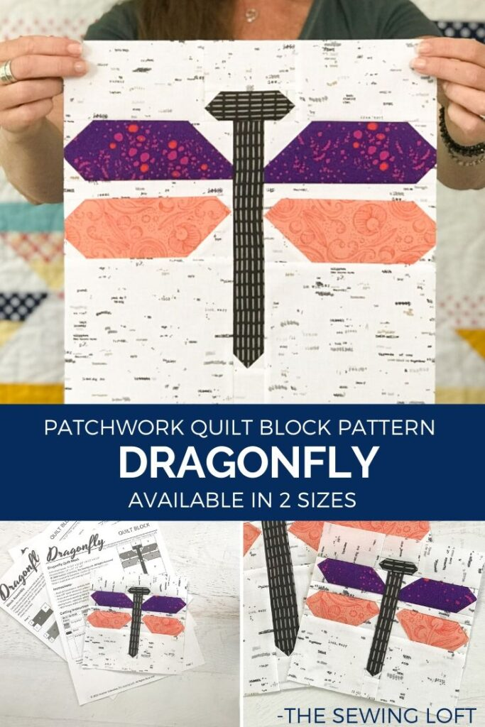Grab your scraps and stitch up a few Dragonfly quilt blocks. This patchwork block is easy to make and perfect for summer.