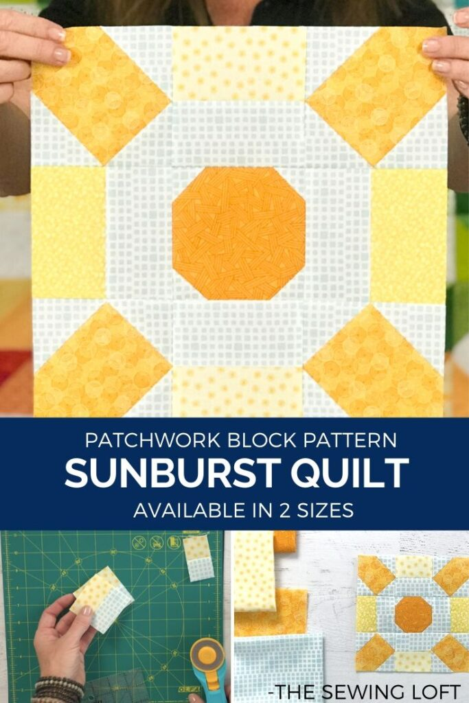Grab your scraps and create your own sunshine with this easy to make Sunburst quilt blocks. The patchwork construction is easy to follow and perfect for all skill levels.