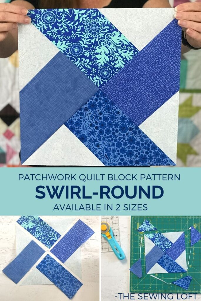 Turn your scraps into something fun with this colorful, easy to make Swirl-Round quilt block. from The Sewing Loft. Easy to make and available in 2 sizes