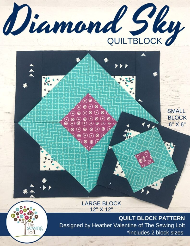 Diamond Sky Quilt Block Pattern by The Sewing Loft