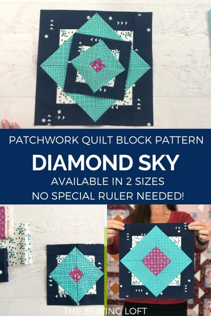 Learn how to make the Diamond Sky quilt block. The patchwork construction makes is perfect for all skill levels and takes the guess work out of funky angles. Includes how to video.